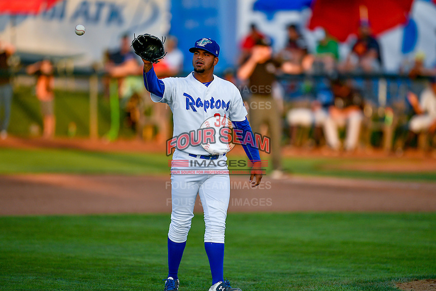 Pioneer League All-Star Roberth Fernandez (34) of the Ogden Raptors during the game against the Northwest League All-Stars at the 2nd Annual Northwest League-Pioneer League All-Star Game at Lindquist Field on August 2, 2016 in Ogden, Utah. The Northwest League defeated the Pioneer League 11-5. (Stephen Smith/Four Seam Images)