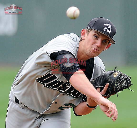 Photo of the University of South Carolina Upstate Spartans in a game against the Connecicut Huskies on Saturday, March 14, 2015, at Fluor Field at the West End in Greenville, South Carolina. Connecticut won, 7-3. (Tom Priddy/Four Seam Images)