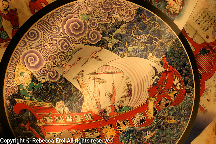 Detail of a ceiling showing Noah's Ark at the Museum of the History of Islamic Science and Technology, Istanbul, Turkey