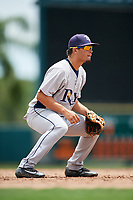 GCL Rays third baseman Cristhian Pedroza (39) during a game against the GCL Orioles on July 21, 2017 at Ed Smith Stadium in Sarasota, Florida.  GCL Orioles defeated the GCL Rays 9-0.  (Mike Janes/Four Seam Images)