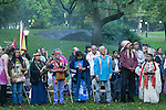 Indigenous Leaders gather for a sunrise ceremony prior to the Peoples Climate March in New York. More than 300,000 march in solidarity for Climate accountability, at the People's Climate March on September 21, 2014. (Credit: Robert van Waarden)