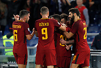 Roma's Stephan El Shaarawy, second from right, celebrates with his teammates after scoring the winning goal during the Serie A football match between Roma and Bologna at Rome's Olympic stadium, October 28, 2017.M Roma won 1-0.<br /> UPDATE IMAGES PRESS/Riccardo De Luca