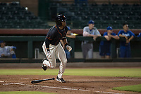 AZL Giants Black center fielder Randy Norris (1) starts down the first base line during an Arizona League game against the AZL Royals at Scottsdale Stadium on August 7, 2018 in Scottsdale, Arizona. The AZL Giants Black defeated the AZL Royals by a score of 2-1. (Zachary Lucy/Four Seam Images)