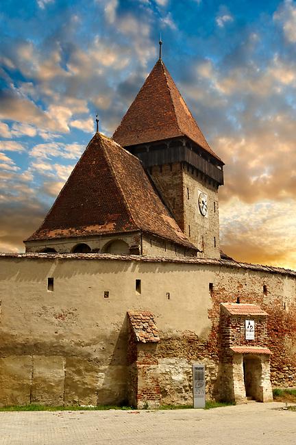 The Gothic  14th Century Axente Sever Saxon Evangelical Fortified Church, Sibiu, Transylvania.