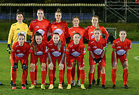 Top left to right: goalkeeper Hazel Engelen, Marie Bougard, Sheila Broos, Kenza Vrithof, Selina Gijsbrechts first row left to right Stefanie Deville, Anouck Cochez, Magali Dinon, Estelle Peron, captain Jana Simons and Stephanie Suenens pose for the team photo at the start of a female soccer game between FC Femina White Star Woluwe and Eendracht Aalst on the sixth matchday of the 2020 - 2021 season of Belgian Scooore Womens Super League , friday 6 th of November 2020  in Woluwe , Belgium . PHOTO SPORTPIX.BE | SPP | SEVIL OKTEM