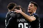 Paris Saint-Germain's Neymar Jr, Adrien Rabiot and Yuri Berchiche celebrate goal during Champions League Round of 16 1st leg match. February 14,2018. (ALTERPHOTOS/Acero)