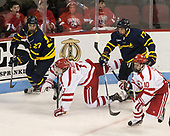 Patrick Kramer (Merrimack - 27), Charlie McAvoy (BU - 7), Logan Coomes (Merrimack - 17), Gabriel Chabot (BU - 10) - The visiting Merrimack College Warriors defeated the Boston University Terriers 4-1 to complete a regular season sweep on Friday, January 27, 2017, at Agganis Arena in Boston, Massachusetts.The visiting Merrimack College Warriors defeated the Boston University Terriers 4-1 to complete a regular season sweep on Friday, January 27, 2017, at Agganis Arena in Boston, Massachusetts.