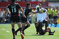 Christian Wade of Wasps is tackled by Brad Barritt of Saracens during the Aviva Premiership Rugby semi final match between Saracens and Wasps at Allianz Park on Saturday 19th May 2018 (Photo by Rob Munro/Stewart Communications)
