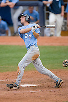 Ryan Graepel #24 of the North Carolina Tar Heels follows through on his swing versus the Clemson Tigers at Durham Bulls Athletic Park May 23, 2009 in Durham, North Carolina. The Tigers defeated the Tar Heals 4-3 in 11 innings.  (Photo by Brian Westerholt / Four Seam Images)