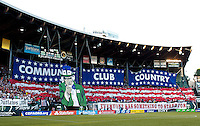 PORTLAND, Ore. - July 9, 2013: Tifo from the American Outlaws before the match. The US Men's National team plays the National team of Belize during the 2013 Gold Cup at at JELD-WEN Field.