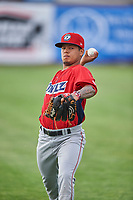 Orem Owlz starting pitcher Sadrac Franco (47) before the game against the Ogden Raptors at Lindquist Field on June 20, 2019 in Ogden, Utah. The Owlz defeated the Raptors 11-8. (Stephen Smith/Four Seam Images)