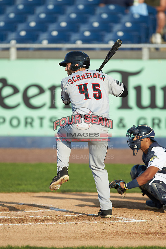 Scott Schreiber (45) of the Fayetteville Woodpeckers at bat against the Wilmington Blue Rocks at Frawley Stadium on June 6, 2019 in Wilmington, Delaware. The Woodpeckers defeated the Blue Rocks 8-1. (Brian Westerholt/Four Seam Images)