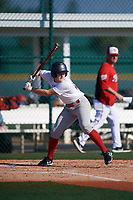 Matthew Mangum (23), from Charlotte, North Carolina, while playing for the Nationals during the Baseball Factory Pirate City Christmas Camp & Tournament on December 28, 2017 at Pirate City in Bradenton, Florida.  (Mike Janes/Four Seam Images)