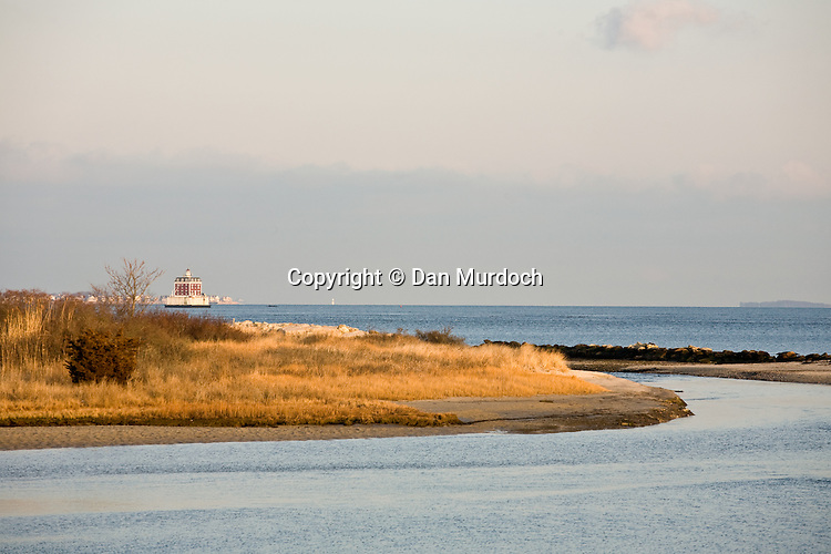 New London, CT harbor lighthouse as viewed from Waterford, CT