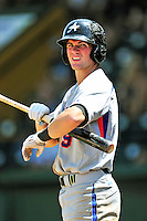 15 July 2010: Aberdeen IronBirds' outfielder Zach Moore in action against the Vermont Lake Monsters at Centennial Field in Burlington, Vermont. The Lake Monsters rallied in the bottom of the 9th inning to defeat the IronBirds 7-6 notching their league leading 20th win of the 2010 NY Penn League season. Mandatory Credit: Ed Wolfstein Photo