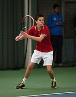 Rotterdam, The Netherlands, 07.03.2014. NOJK ,National Indoor Juniors Championships of 2014,  Sam van Dijk (NED)   Joost de Wildt (NED)<br /> Photo:Tennisimages/Henk Koster