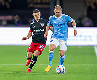 WASHINGTON, DC - APRIL 17: Anton Tinnerholm #3 of New York City FC dribbles during a game between New York City FC and D.C. United at Audi Field on April 17, 2021 in Washington, DC.