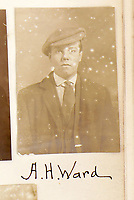 BNPS.co.uk (01202) 558833<br /> Pic: ChiswickAuctions/BNPS<br /> <br /> Pictured: A.H.Ward wearing a flat cap and sharp suit<br /> <br /> The London Peaky Blinders<br /> <br /> A collection of remarkably rare Victorian mugshots used by police to identify London's gangs has emerged for sale more than 120 years later.<br /> <br /> The photographic album compiled between 1895 and 1916 has portraits of hundreds of men known to forces in south and east London.<br /> <br /> Dressed in sharp suits and caps reminiscent of the Peaky Blinders, it is thought many were involved in organised crime and racketeering.