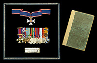 BNPS.co.uk (01202 558833)<br /> Pic: DixNoonanWebb/BNPS<br /> <br /> Pictured: The medals and pilot's log book.<br /> <br /> Left to right:<br /> The Royal Victorian Order, C.V.O,  Distinguished Service Order, Distinguished Flying Cross, with Second Award Bar,<br /> 1939-45 Star with Battle of Britain clasp, Air Crew Europe Star, Defence and War Medals 1939-45, with M.<br /> I.D. oak leaf, Coronation medal 1953, Jubilee medal 1977, Netherlands, Kingdom, Queen Juliana's Coronation Medal 1948, Order of Orange-Nassau.<br /> <br /> The wartime gallantry medals awarded Princess Margaret's lover, Group Captain Peter Townsend, today sold for £260,000.<br /> <br /> The RAF 'ace' shot down at least 11 enemy aircraft in over 300 operational sorties during the Battle of Britain and beyond.<br /> <br /> He became the first RAF pilot to bring down an enemy aircraft on English soil in February 1940.