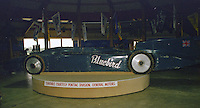 """Sir Malcolm Campbell's """"Bluebird"""" land speed record car on display in the Talladega museum at Alabama International Motor Speedway in Talladega, AL on May 1, 1983.  (Photo by Brian Cleary/www.bcpix.com)"""