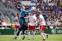 New York Red Bulls goalkeeper Ryan Meara (18) grabs a ball. The New York Red Bulls defeated the Philadelphia Union  3-2 during a Major League Soccer (MLS) match at PPL Park in Chester, PA, on May 13, 2012.