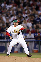 Edgar Gonzalez of Mexico during the World Baseball Championships at Angel Stadium in Anaheim,California on March 16, 2006. Photo by Larry Goren/Four Seam Images
