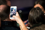 A guest taking a picture of Cristina Pedroche with his mobile during the party organized by Mercedes - Benz and Ushuaia Ibiza to the presentation of new Smart Fortwo Ushuaia Limited Edition 2016 at the Palacio de Cibeles in Madrid. March 10, 2016. (ALTERPHOTOS/BorjaB.Hojas)