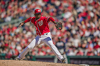6 April 2014: Washington Nationals pitcher Rafael Soriano on the mound to close out the game against the Atlanta Braves at Nationals Park in Washington, DC. The Nationals defeated the Braves 2-1 to salvage the last game of their 3-game series. Mandatory Credit: Ed Wolfstein Photo *** RAW (NEF) Image File Available ***