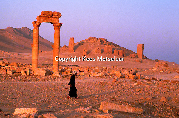 "Syria, Palmyra, Oct. 1989..Remains of this ancient city in south-central Syria, 130 miles (210 km) northeast of Damascus. The name Palmyra, meaning ""city of palm trees,"" was conferred upon the city by its Roman rulers in the 1st century AD.<br />