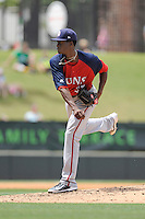 Pitcher Phillips Valdez (37) of the Hagerstown Suns, delivers a pitch in a game against the Greenville Drive on May 12, 2015, at Fluor Field at the West End in Greenville, South Carolina. Greenville won, 4-0. (Tom Priddy/Four Seam Images)