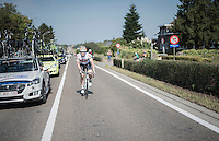 André Greipel (DEU/Lotto-Soudal) returning to the peloton after a 'nature break'<br /> <br /> 12th Eneco Tour 2016 (UCI World Tour)<br /> Stage 7: Bornem › Geraardsbergen (198km)