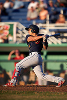 State College Spikes left fielder Andres Luna (4) at bat during a game against the Batavia Muckdogs on July 7, 2018 at Dwyer Stadium in Batavia, New York.  State College defeated Batavia 7-4.  (Mike Janes/Four Seam Images)