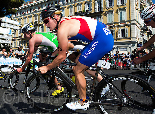 16 SEP 2012 - NICE, FRA - Tom Bishop of Rouen Triathlon begins a new lap on the bike during the final stage of the French Grand Prix triathlon series held during the Triathlon de Nice Côte d'Azur .(PHOTO (C) 2012 NIGEL FARROW)