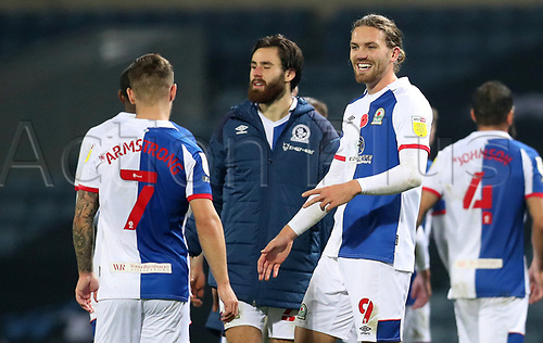 7th November 2020; Ewood Park, Blackburn, Lancashire, England; English Football League Championship Football, Blackburn Rovers versus Queens Park Rangers; Ben Brereton of Blackburn Rovers is congratulated by team mate Sam Gallagher after the final whistle