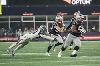 FOXBOROUGH, MA - NOVEMBER 24: Dallas Cowboys Linebacker Sean Lee #50 tackles New England Patriots Runningback Rex Burkhead #34 during a game between Dallas Cowboys and New England Patriots at Gillettes on November 24, 2019 in Foxborough, Massachusetts.