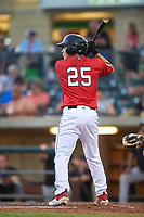 Billings Mustangs Eric Yang (25) at bat during a Pioneer League game against the Grand Junction Rockies at Dehler Park on August 14, 2019 in Billings, Montana. Grand Junction defeated Billings 8-5. (Zachary Lucy/Four Seam Images)
