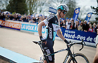 2014 winner Niki Terpstra (NLD/Etixx-QuickStep), with #1 still on his bike, just after finishing the race<br /> <br /> 113th Paris-Roubaix 2015
