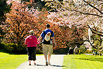 Family with baby strolls in Washington Park Arboretum's gardens, which provide peace and tranquility in the city.  Seattle, Washington.