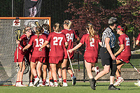 NEWTON, MA - MAY 14: Temple University celebrates the victory after NCAA Division I Women's Lacrosse Tournament first round game between University of Massachusetts and Temple University at Newton Campus Lacrosse Field on May 14, 2021 in Newton, Massachusetts.