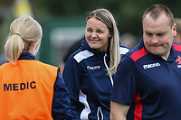 London Scottish players and staff warm up ahead of the Greene King IPA Championship match between London Scottish Football Club and Ealing Trailfinders at Richmond Athletic Ground, Richmond, United Kingdom on 8 September 2018. Photo by David Horn.