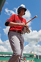 Boston Red Sox third baseman Triston Casas (19) on deck during a Florida Instructional League game against the Baltimore Orioles on September 21, 2018 at JetBlue Park in Fort Myers, Florida.  (Mike Janes/Four Seam Images)