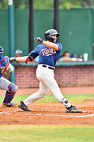 Elizabethton Twins designated hitter Charlie Mack (27) swings at a pitch during a game against the Kingsport Mets at Joe O'Brien Field on July 6, 2019 in Elizabethton, Tennessee. The Twins defeated the Mets 5-3. (Tony Farlow/Four Seam Images)