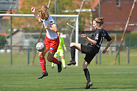 Pauline Windels (5) of Zulte Waregem and Selina Gijsbrechts (11) of Woluwe  pictured during a female soccer game between SV Zulte - Waregem and White Star Woluwe on the 10 th and last matchday in play off 2 of the 2020 - 2021 season of Belgian Scooore Womens Super League , saturday 29 of May 2021  in Zulte , Belgium . PHOTO SPORTPIX.BE | SPP | DIRK VUYLSTEKE