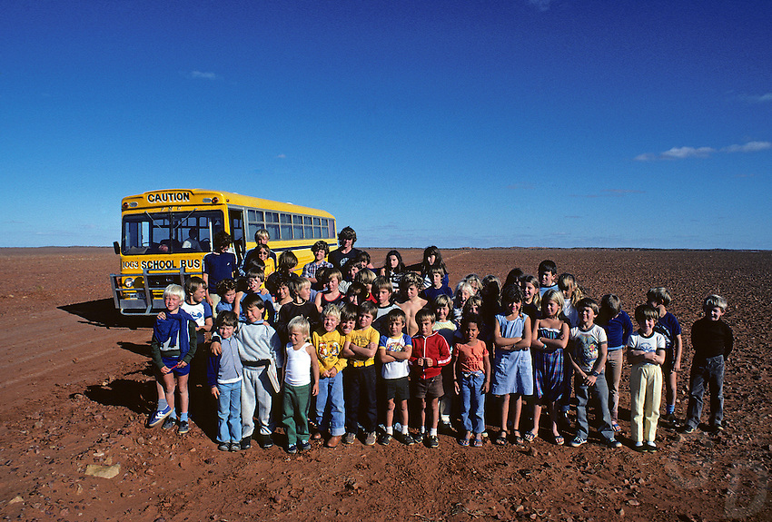 In the stoney Desert in the Outback of South Australia a school bus picking up the children over vast distances from their isolated Home station or Cattle properties.