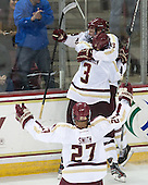 Quinn Smith (BC - 27), Ian McCoshen (BC - 3), Patrick Brown (BC - 23) - The Boston College Eagles defeated the visiting University of Wisconsin Badgers 9-2 on Friday, October 18, 2013, at Kelley Rink in Conte Forum in Chestnut Hill, Massachusetts.