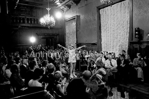 St Petersburg, Russia.1998.An alternative fashion show by Petloura, one of Russia?s' most eccentric fashion artists who makes artistic and political fashion statements at his shows. He mixes both old Soviet symbols and new Western commercialism into his designs..