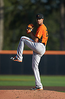 Frederick Keys starting pitcher Ofelky Peralta (26) in action against the Buies Creek Astros at Jim Perry Stadium on April 28, 2018 in Buies Creek, North Carolina. The Astros defeated the Keys 9-4.  (Brian Westerholt/Four Seam Images)