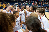 NORFOLK, VA--Team captain Nneka Ogwumike celebrates with her team after defeating West Virginia University at the Ted Constant Convocation Center at Old Dominion University for the second round of the 2012 NCAA Championships. The Cardinal advanced to the West Regionals in Fresno with a score of 72-55.