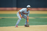 Miami Hurricanes shortstop Anthony Vilar (27) on defense against the Wake Forest Demon Deacons at David F. Couch Ballpark on May 11, 2019 in  Winston-Salem, North Carolina. The Hurricanes defeated the Demon Deacons 8-4. (Brian Westerholt/Four Seam Images)