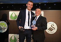 Pictured L-R: Oliver McBurnie and Nigel Rees Wednesday 18 May 2017<br />Re: Swansea City FC, Player of the Year Awards at the Liberty Stadium, Wales, UK.